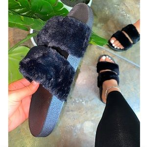 Black Double Band Faux Fur Slides Sandals Slippers